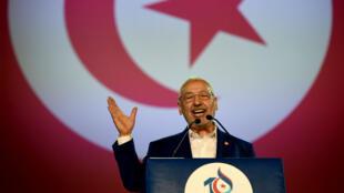 Rached Ghannouchi lors du discours d'ouverture du 10e Congrès du mouvement islamiste tunisien Ennahda.