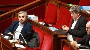 Alexis Corbiere (g) à l'Assemblée nationale le 24 février 2020