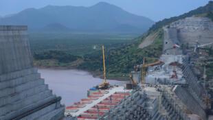 La gran presa en construcción en la región de Benishangul-Gumuz, Etiopía, el 26 de septiembre de 2019.