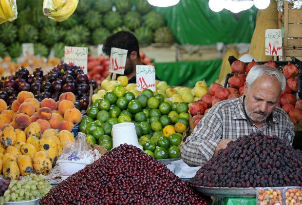 Un étal de fruits et légumes du bazar de Tajrish à Téhéran, le 19 septembre 2019.