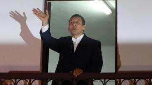 El expresidente peruano Ollanta Humala habló con simpatizantes de la sede del Partido Nacionalista peruano en Lima, el 30 de abril de 2018.