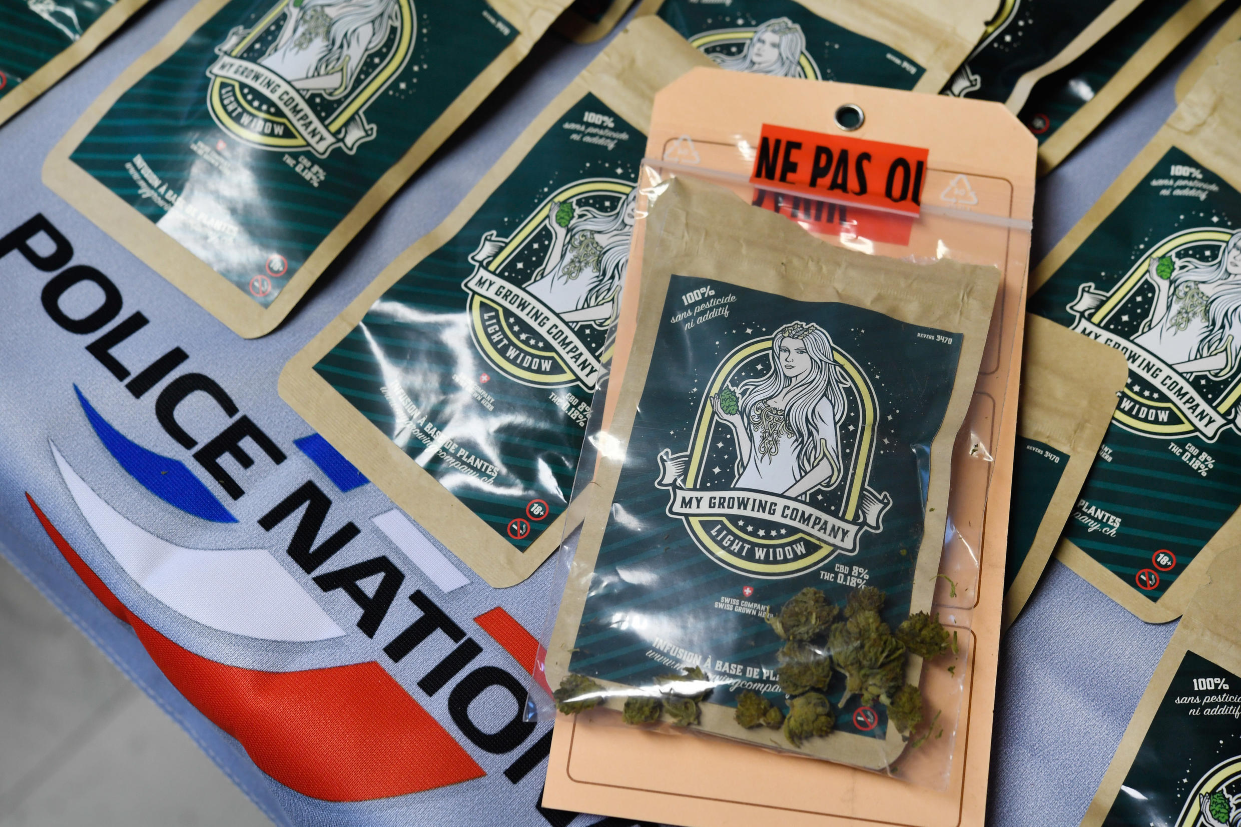 Tea bags containing cannabis flowers that were meant to be sold as herbal tea are pictured at a police station in Brest, western France, on August 1, 2018.
