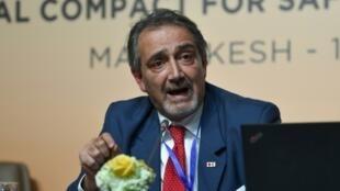 Le Dr Francesco Rocca, président de la Fédération internationale de la Croix rouge, le 10 décembre 2018 à Marrakech