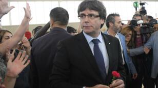 Carles Puigdemont lors d'un rassemblement pour le référendum sur l'indépendance de la Catalogne, le 1er octobre 2017.