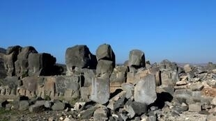دمار في معبد عين دارة الأثري في شمال سوريا في 29 كانون الثاني/يناير 2018