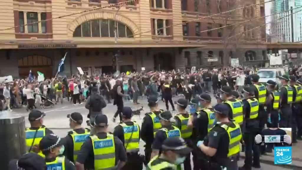 2021-08-21 19:10 Melbourne y Sídney, escenarios de protestas contra las medidas de confinamiento en Australia