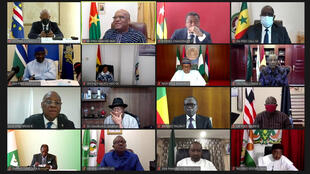 A screenshot shows a teleconference during the extraordinary Summit of the Economic Community of West African States (ECOWAS) Authority of Heads of State and Government on the Socio-Political Situation in Mali on August 20, 2020.