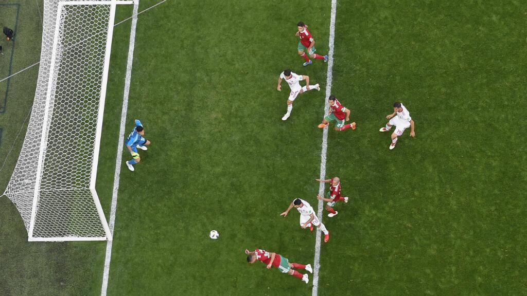 Un segundo antes del gol de Irán, desde arriba.