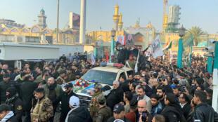 تشييع قاسم سليماني وأبو مهدي المهندس في بغداد، في 4 يناير/كانون الثاني 2019.