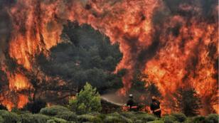 Le village de Kineta, à proximité d'Athènes, en proie aux flammes, le 24 juillet 2018.