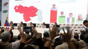 Miembros del Comité Nacional Electoral de Venezuela anuncian los resultados de las elecciones del Domingo en Caracas. 20 de mayo de 2018.