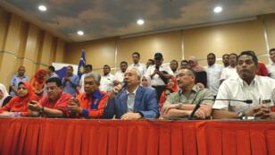 L'ex-Premier ministre malaisien, Najib Razak, lors de la conférence de presse au cours de laquelle il a annoncé sa démission de la tête de son parti, le 12 mai 2018 à Kuala Lumpur.
