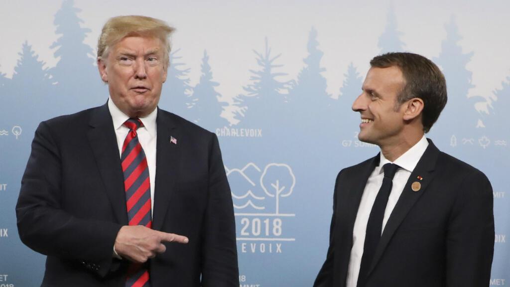 Emmanuel Macron et Donald Trump, à Charlevoix, au Canada, le 8 juin 2018.