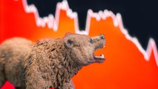 """Le """"bear market"""" ou """"marché baissier"""" est caractérisé par une chute du cours de la Bourse d'au moins 20 % par rapport au plus récent pic."""