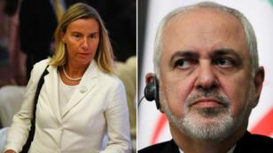 La chef de la diplomatie européenne Federica Mogherini et le ministre iranien des Affaires étrangères Mohammad Javad Zarif.