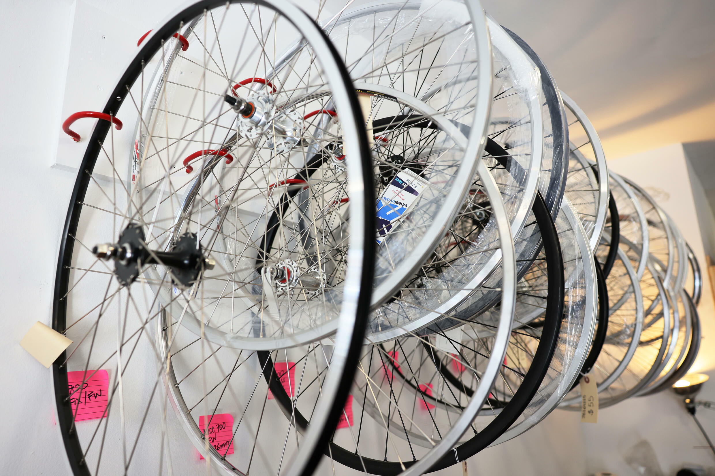 Bicycle wheels for sale in a New York store in June 2021