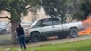"""صورة نشرت على """"فيسبوك"""" تظهر الحريق الذي نتج عن تحطم طائرة عروض جوية تابعة لسلاح الجو الكندي، في 17 أيار/مايو 2020 في كاملوبس"""