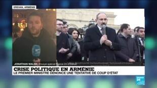2021-02-25 16:01 Arménie : rassemblements des soutiens et des opposants à Nikol Pachinian à Erevan