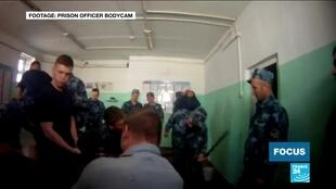 This footage, filmed in a penal colony in Yaroslavl, led to the trial of 15 prison guards.