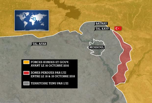 Front Est de la bataille de Mossoul, le 19 octobre 2016.