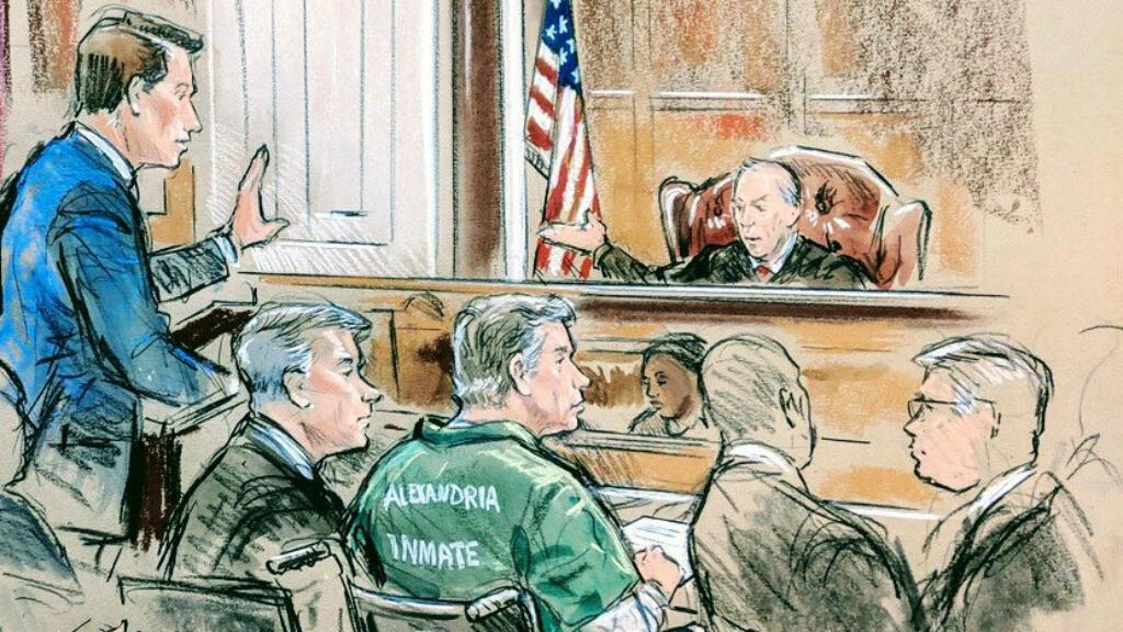 El exgerente de campaña del presidente Donald Trump, Paul Manafort, aparece para la sentencia en este bosquejo de la corte en el Tribunal del Distrito de EE. UU. En Alexandria, Virginia, EE. UU., 7 de marzo de 2019, donde recibió su primera condena.