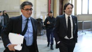 Arnaud Mimran (à droite) et son avocat Jean-Marc Fedida, le 25 mai 2016, au tribunal correctionnel de Paris.