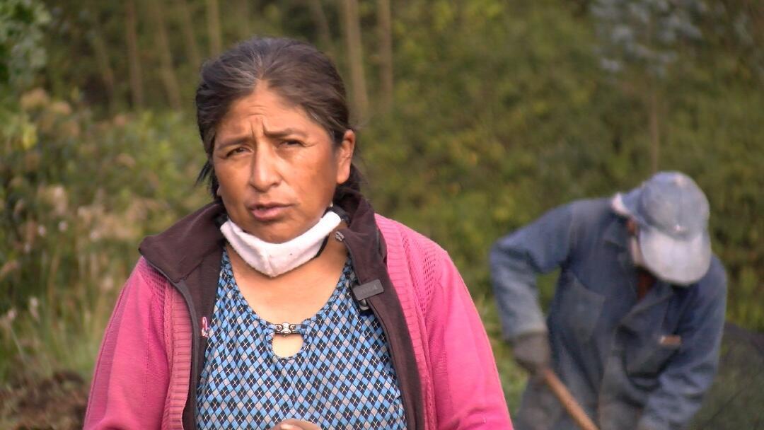 Elvira Pérez ante el cultivo en el que trabaja cada mañana.