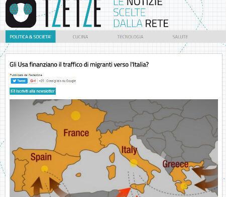 Le site TzeTze se demande si les États-Unis ne financent pas le trafic de migrants vers l'Italie.