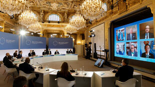 French President Emmanuel Macron opened the virtual One Planet Summit at the Élysée Palace on January 11, 2021.