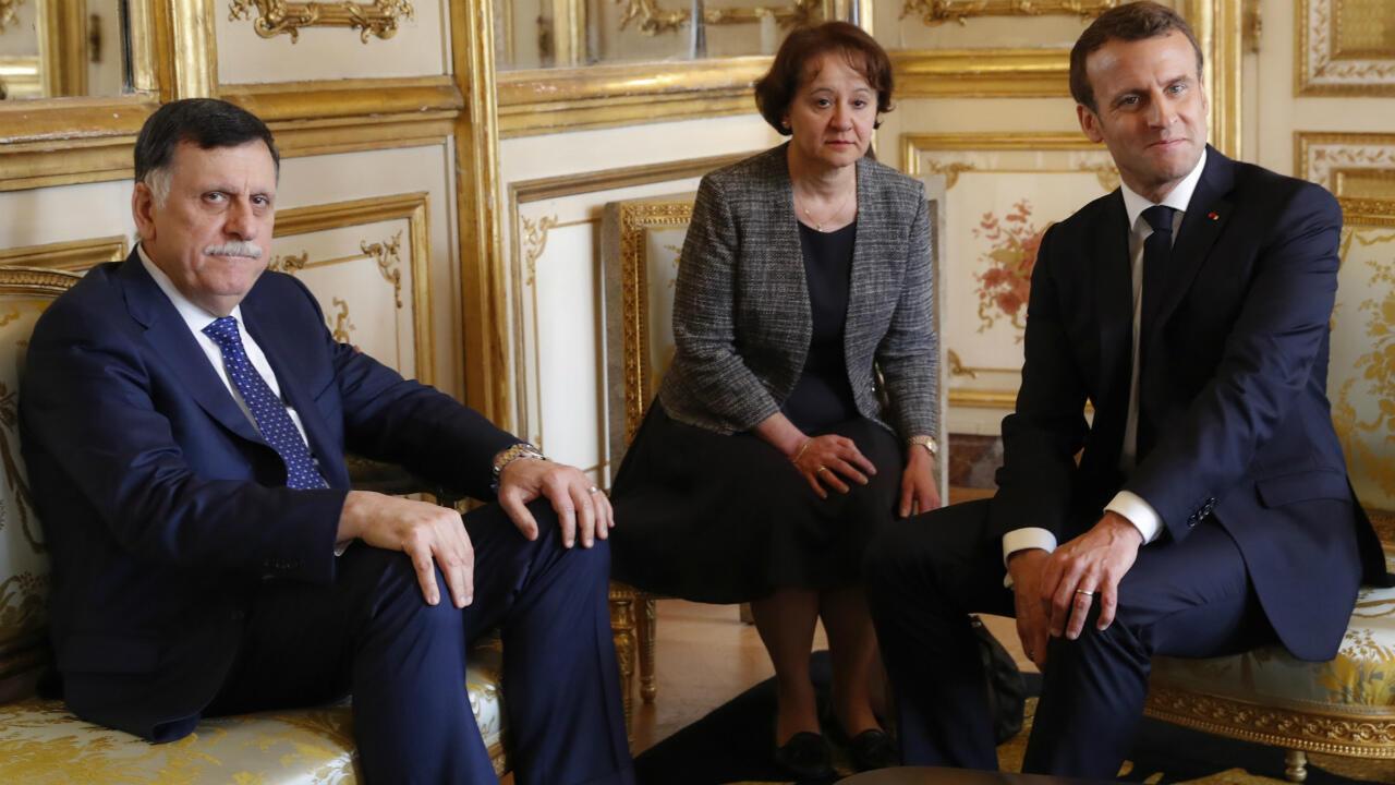 Le Premier ministre libyen Fayez al-Sarraj a rencontré Emmanuel Macron à l'Élysée, le 8 mai 2019.