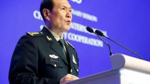 Wei Fenghe, ministro de Defensa de China, durante el foro de seguridad en Singapur. 2 de junio de 2019.