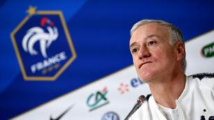 Le sélectionneur de l'équipe de France de football, Didier Deschamps, lors d'une conférence de presse à Saint-Pétersbourg, le 26 mars 2018.