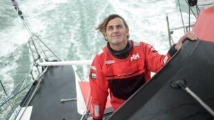"French skipper Yannick Bestaven aboard his boat ""Maître Coq IV, October 7, 2020, near La Rochelle."
