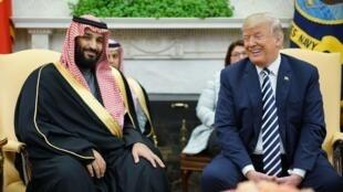 Donald Trump et le prince héritier saoudien Mohammed ben Salmane à Washingtion, en mars 2018.