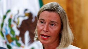 La alta representante de la UE para la política exterior, Federica Mogherini, habla en una conferencia ante estudiantes de la Universidad Nacional Autónoma de México, en Ciudad de México, el 11 de septiembre de 2019.