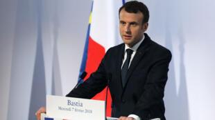 Le président français, Emmanuel Macron, à Bastia, le 7 février 2018.
