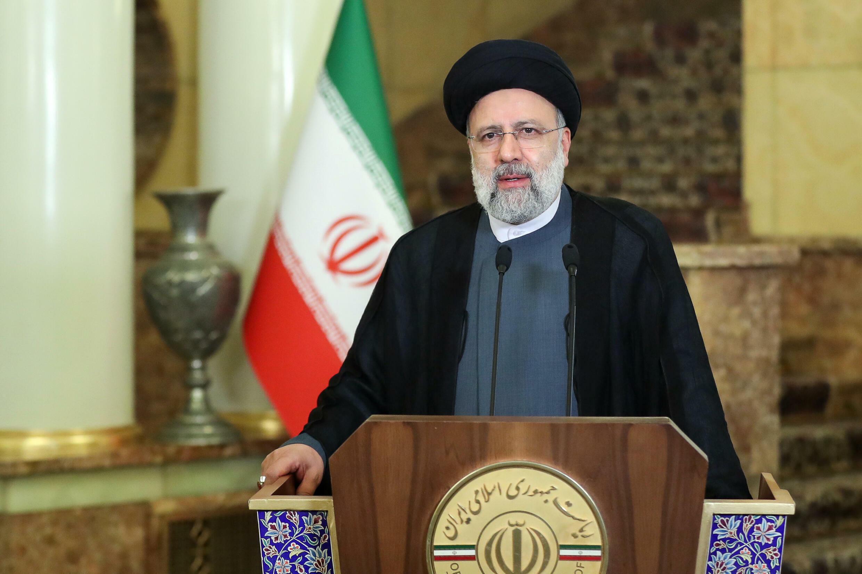 صورة وزّعتها الرئاسة الإيرانية للرئيس ابراهيم رئيسي خلال كلمته المسجّلة التي بثّت خلال الجمعية العامة للأمم المتحدة في 21 أيلول/سبتمبر 2021