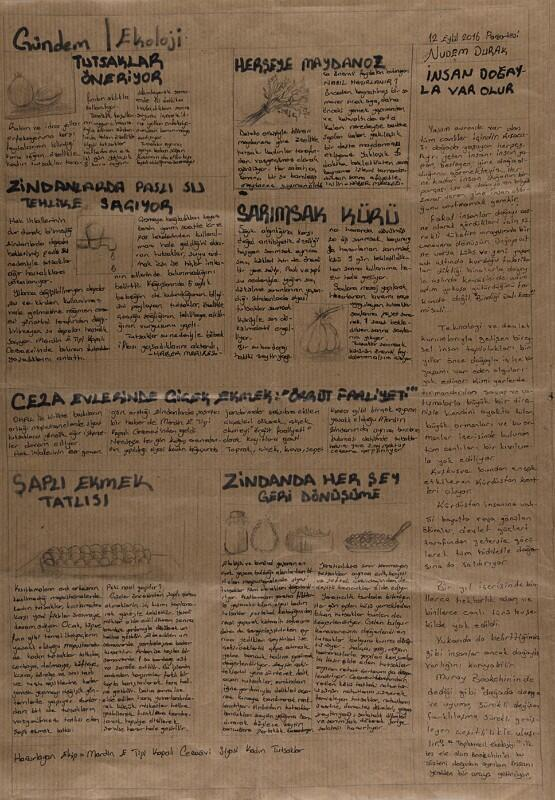 An page of the newspaper that Zehra Dogan produced while she was in prison.