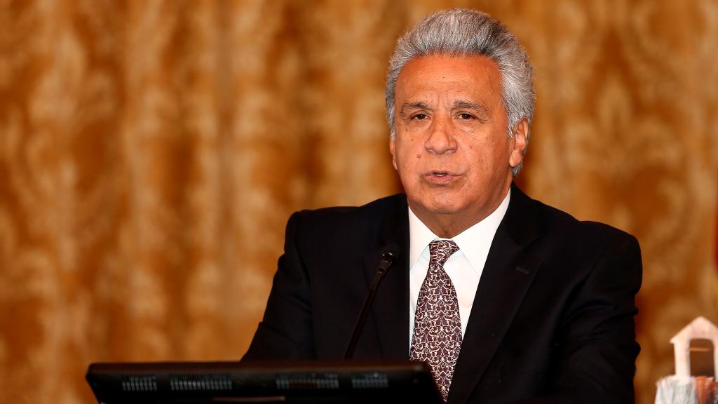 Imagen del presidente de Ecuador, Lenín Moreno, que después de conocerse el rechazo de un 74% de la población ecuatoriana a su gestión, se recortó un 50% del sueldo.