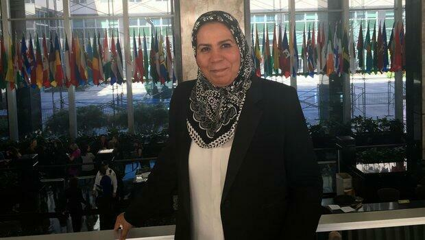 Latifa Ibn Ziaten au département d'État américain, à Washington, le 29 mars 2016.
