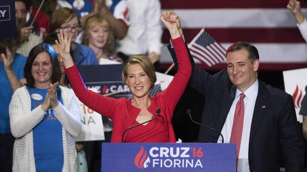 Ted Cruz et Carly Fiorina lors d'un meeting de campagne le 27 avril 2016 à Indianapolis.