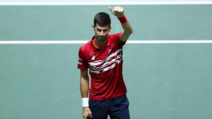 Novak Djokovic a permis l'équipe de Serbie de remporter son match contre la France en Coupe Davis, le 21 novembre 2019.