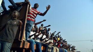 Des partisans d'Abdoul Karim Méckassoua, à Bangui le 28 décembre 2015.