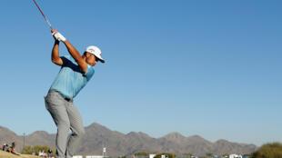 El estadounidense Xander Schauffele en una acción de la segunda ronda del torneo PGA Phoenix Open.