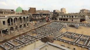 Le chantier de reconstruction de la vieille ville de Mossoul, le 29 janvier 2019.