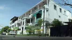 Le bâtiment, à Colombo, où résidaient les deux frères kamikazes présumés.