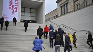 """Inauguration de la galerie James-Simon, sur """"l'île aux musées"""", à Berlin, le 12 juillet 2019"""