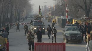 موقع الهجوم الانتحاري قرب مكتب للاستخبارات الأفغانية في كابول في 25 ديسمبر 2017