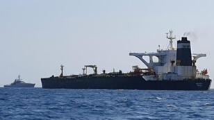 El buque petrolero Grace 1 es visto cerca de las costas de Gibraltar, el 4 de julio de 2019.