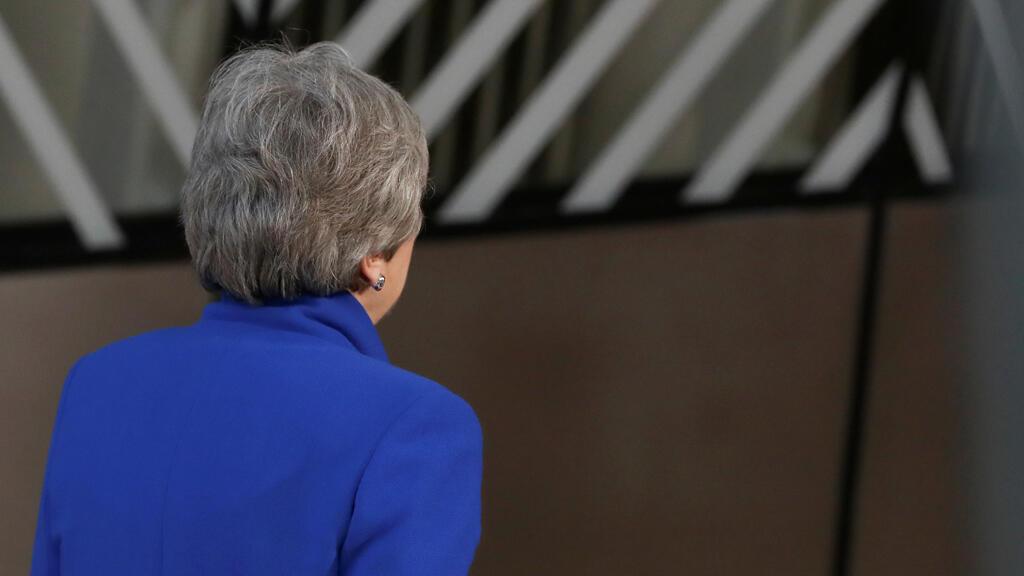 La primera ministra británica, Theresa May, llega a una cumbre extraordinaria de líderes de la Unión Europea para discutir sobre el Brexit, en Bruselas, Bélgica, el 10 de abril de 2019.